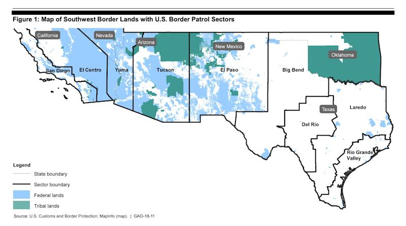 The CBP border sectors. (Source: GAO, October 2017 report)