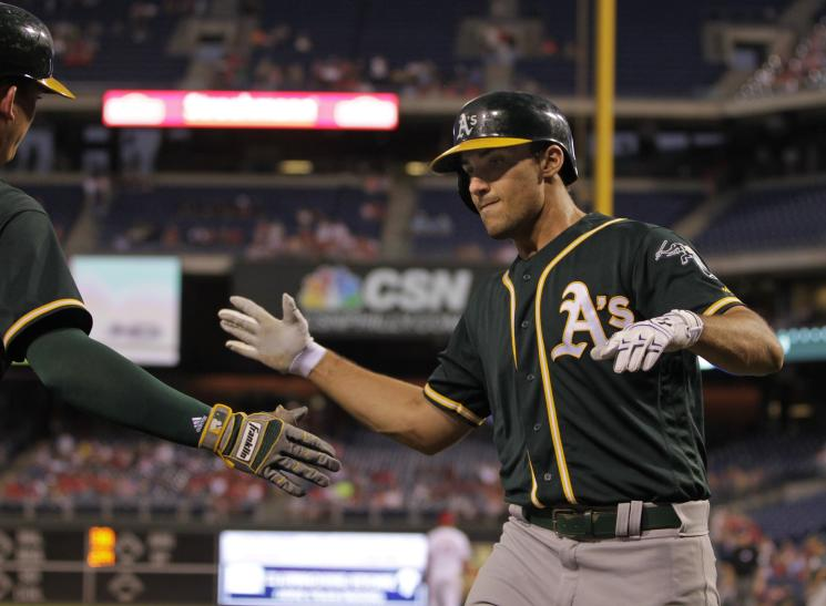 Rookie Matt Olson is on a home run tear for the A's. (Getty Images)