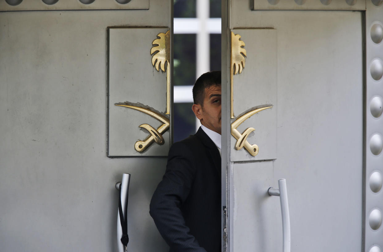 A security guard walks in the Saudi Arabia Consulate in Istanbul Tuesday. Turkey said Tuesday it will search the consulate as part of an investigation into the disappearance of journalist Jamal Khashoggi. (Photo: Lefteris Pitarakis/AP)