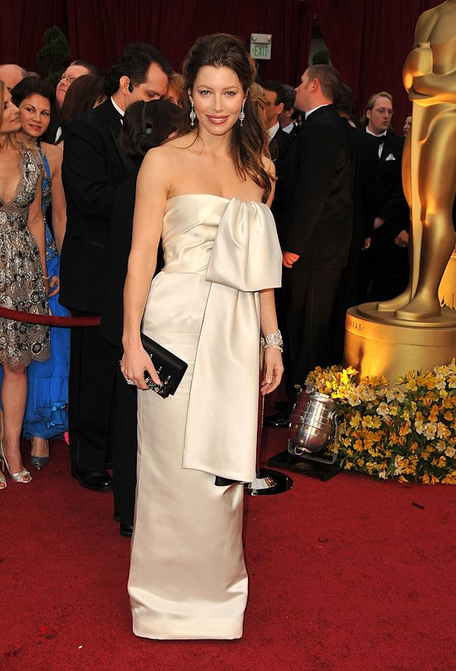 Jessica Biel   Grade: F       The draped Prada piece worn by Justin Timberlake's lady love looked ludicrous, as did her messy mane.