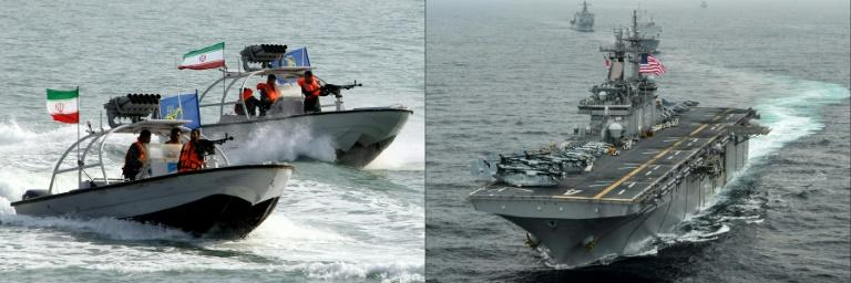 Iranian Revolutionary Guards drive speedboats at the port of Bandar Abbas in 2012 (L), and the amphibious assault ship USS Boxer is pictured during exercises in 2016