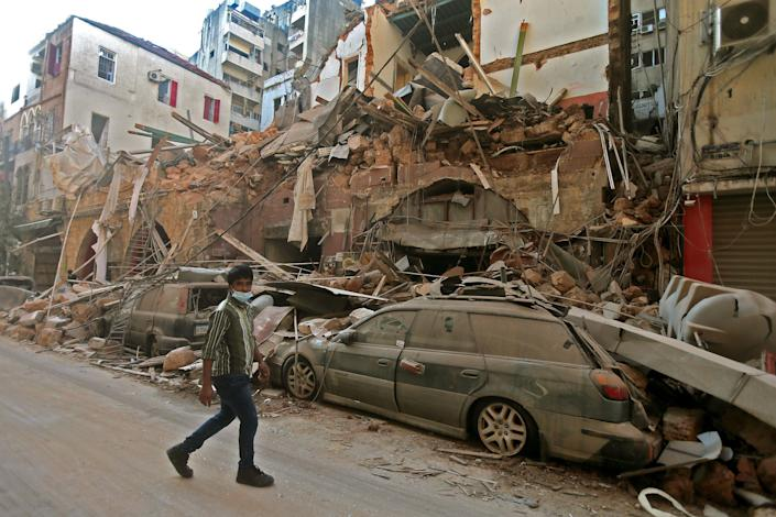 The aftermath of the blast in Beirut. (STR/AFP via Getty Images)