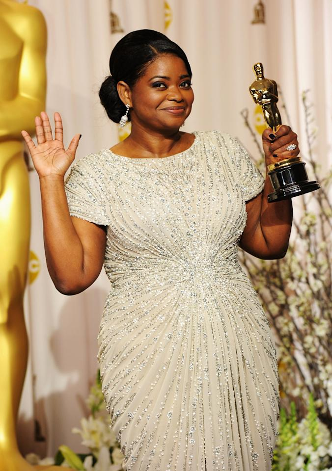 Octavia Spencer, winner of the Best Supporting Actress Award for 'The Help,' poses in the press room at the 84th Annual Academy Awards held at the Hollywood & Highland Center on February 26, 2012 in Hollywood, California.