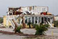 A damaged house caused by Hurricane Sally is pictured in Perdido Key