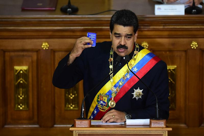 Venezuelan President Nicolas Maduro addresses the all-powerful pro-Maduro assembly which has been placed over the National Assembly and tasked with rewriting the constitution, in Caracas on August 10, 2017 (AFP Photo/RONALDO SCHEMIDT)