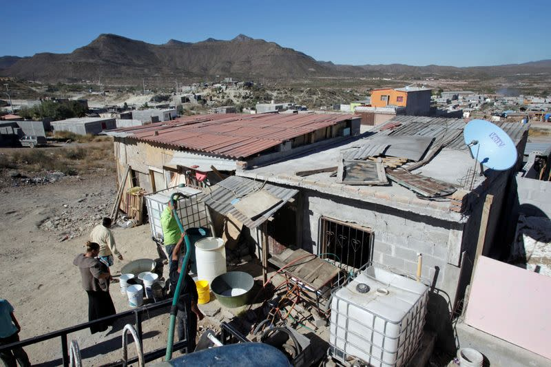 A general view shows the home of Honduran migrant Glenda Troches, which she adapted as a migrant shelter during the outbreak of the coronavirus desease COVID-19 in Saltillo