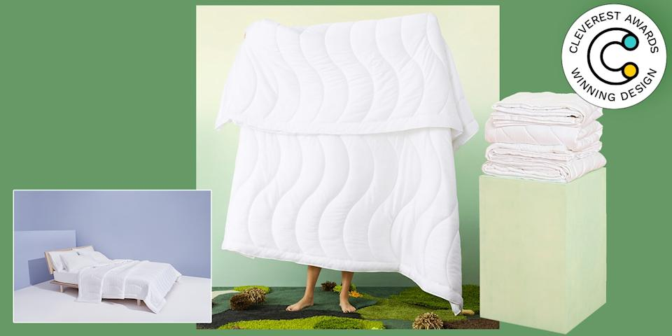 Breeze Comforter by Buffy Sustainability meets good sleep. The latest comforter from natural home decor brand Buffy is made entirely of eucalyptus fabric, which is naturally softer and more earth-friendly than cotton, and equals fully biodegradable bedding. Minds. Blown. The comforter's waved stitch pattern gives the product better structure and just looks, well, breezy. From $170, buffy.co