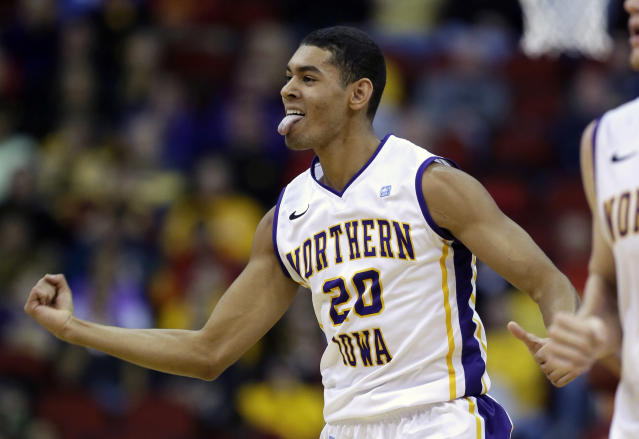 Northern Iowa guard Jeremy Morgan reacts after making a basket during the first half of an NCAA college basketball game against Iowa State, Saturday, Dec. 7, 2013, in Des Moines, Iowa. (AP Photo/Charlie Neibergall)