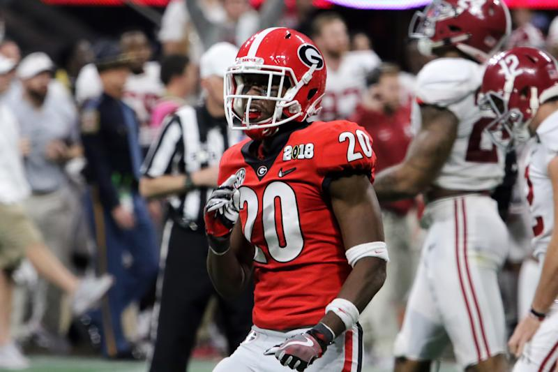 ATLANTA, GA - JANUARY 08: Georgia Bulldogs defensive back J.R. Reed (20) during the College Football Playoff National Championship Game between the Alabama Crimson Tide and the Georgia Bulldogs on January 8, 2018 at Mercedes-Benz Stadium in Atlanta, GA. (Photo by Michael Wade/Icon Sportswire via Getty Images)