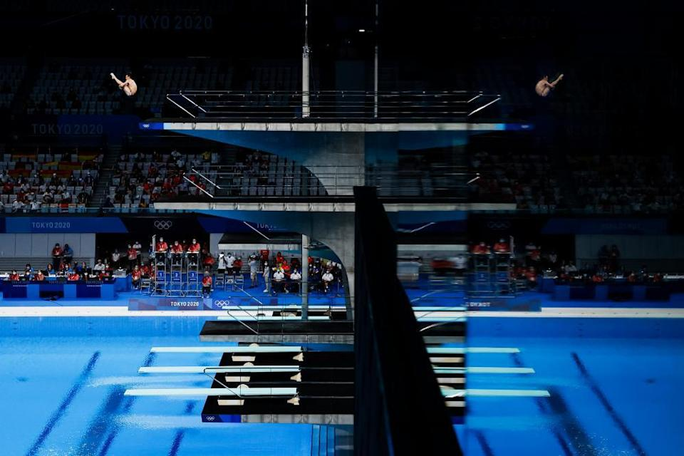 Tom Daley performs in the 10m platform diving preliminary.