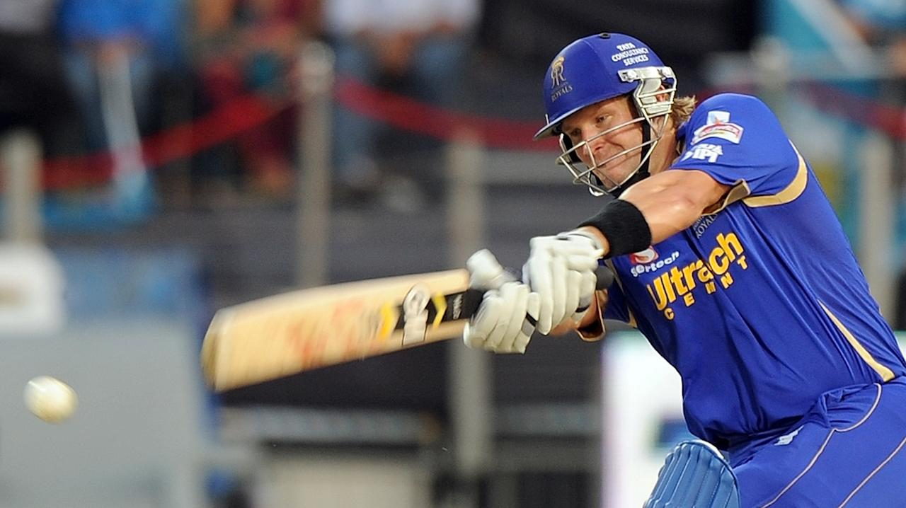 Rajasthan Royals batsman Shane Watson plays a shot during the IPL Twenty20 cricket match between Pune Warriors India and Rajasthan Royals at The Sahara Stadium in Pune on May 8, 2012. RESTRICTED TO EDITORIAL USE. MOBILE USE WITHIN NEWS PACKAGE.  AFP PHOTO/Punit PARANJPE        (Photo credit should read PUNIT PARANJPE/AFP/GettyImages)