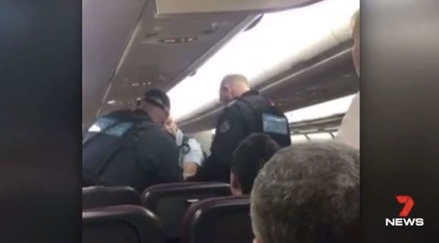 Luke Taylor, 38, caused QF652 to be grounded after about an hour in the air. Photo: 7 News