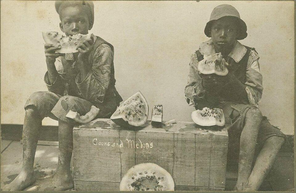 An image from 1895 depicts two black children eating wedges of watermelon. (Photo: National Museum of African American History and Culture)
