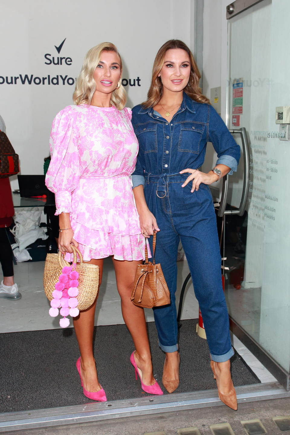 Sam & Billie Faiers arriving for Sures Everyday Gym Your World Your Workout Exclusive Event, Eastcastle Street London (Photo credit should read Jamy / Barcroft Media via Getty Images)