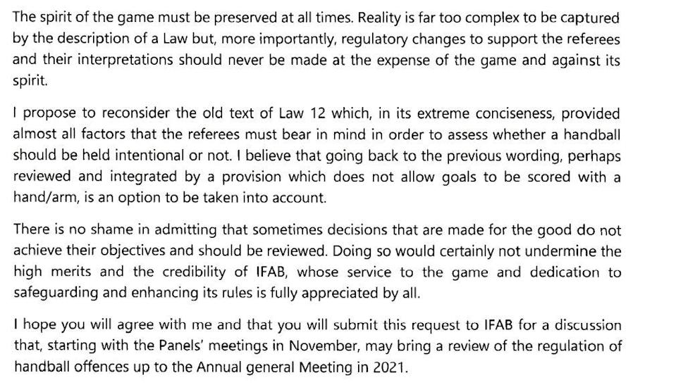 Extract of a letter from UEFA presider Aleksander Ceferin to FIFA counterpart Gianni Infantino