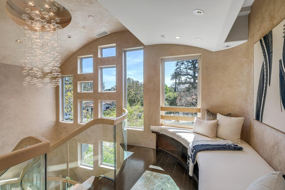 Transformed: the six-bedroom LA home has been restyled since it was taken off the market last year, it's now set to be visited by between 15 and 50 TikTok stars and will be put up for sale for £3.8m on FridayNoel Kleinman