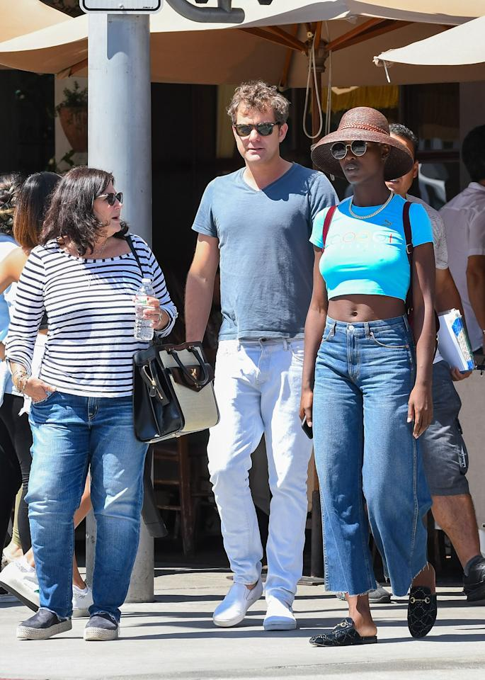 Joshua Jackson and his girlfriend, Jodie Turner-Smith, are joined by his mother Fiona Jackson for a Friday outing in Los Angeles.