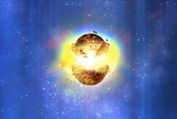 An artist's impression of the merger of two neutron stars. Short duration gamma-ray bursts are thought to be caused by the merger of some combination of white dwarfs, neutron stars or black holes.