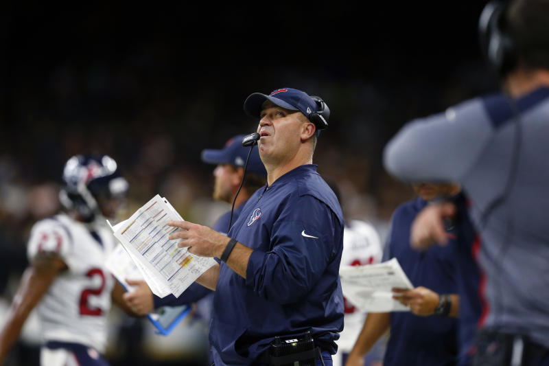 Houston Texans head coach Bill O'Brien said his team would travel to Dallas due to Hurricane Harvey. (AP)