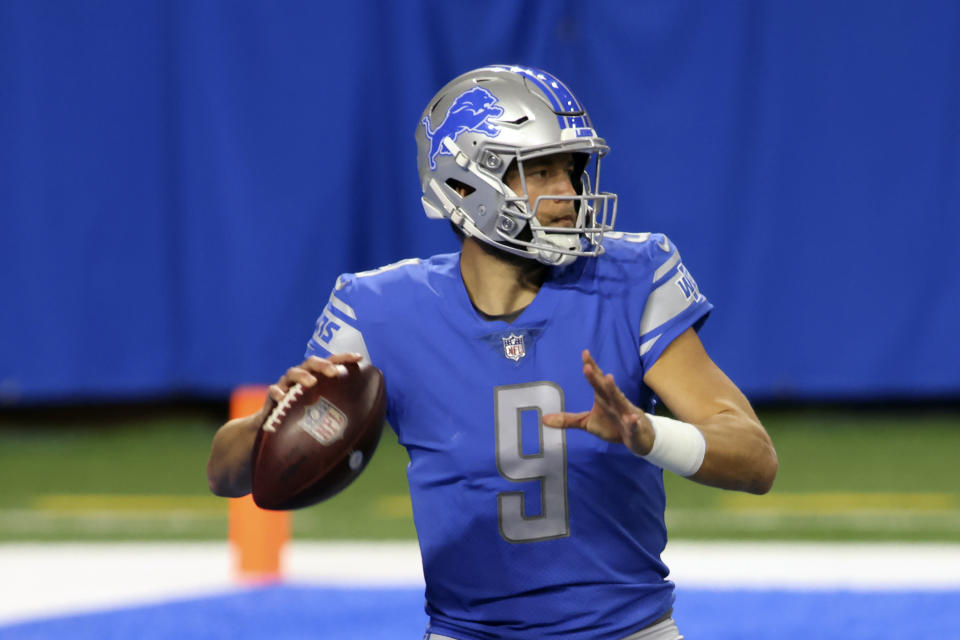 Detroit Lions quarterback Matthew Stafford was placed on the reserve/COVID-19 list. (AP Photo/Tony Ding)