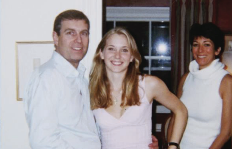 The picture of Prince Andrew, Virginia Giuffre and Ghislaine Maxwell published in the civil suit. (Boies Schiller Flexner LLP)