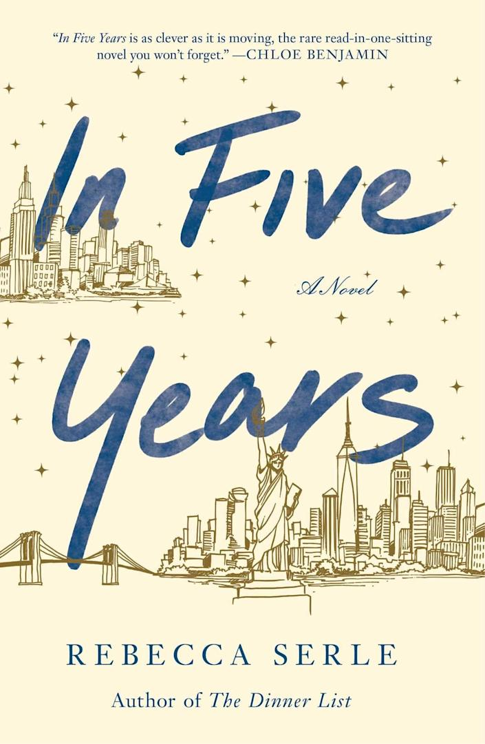 "Dannie Cohan is a type-A Manhattan lawyer. She just landed her dream job and a new fiance. So far, her five-year plan is right on track. But when she has a vivid dream of herself five years into the future &mdash; with a different apartment, ring and man &mdash; she decides to ignore it. That is, until four and a half years later when she meets the aforementioned dream man in real life. Goodreads calls &ldquo;In Five Years&rdquo; &ldquo;an unforgettable love story that reminds us of the power of loyalty, friendship and the unpredictable nature of destiny.&rdquo; Read more about it on <a href=""https://www.goodreads.com/book/show/50093704-in-five-years"" rel=""nofollow noopener"" target=""_blank"" data-ylk=""slk:Goodreads"" class=""link rapid-noclick-resp"">Goodreads</a>, and <a href=""https://amzn.to/39szKXP"" rel=""nofollow noopener"" target=""_blank"" data-ylk=""slk:grab a copy on Amazon"" class=""link rapid-noclick-resp"">grab a copy on Amazon</a>.<br><br><i>Expected release date: March 10</i>"