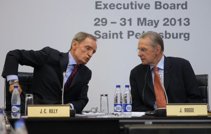 President of the International Olympic Committee, or IOC Jacques Rogge, right, and Jean-Claude Killy, chairman of the IOC Coordination Commission for Sochi 2014 attend an IOC executive board meeting at the SportAccord International Convention in St.Petersburg, Russia, Thursday, May 30, 2013. (AP Photo/Dmitry Lovetsky)