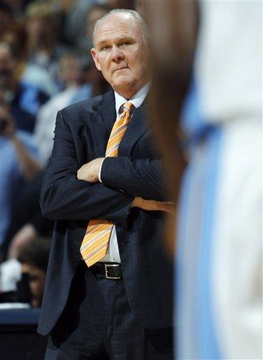 Denver Nuggets head coach George Karl looks on against the Los Angeles Lakers in the fourth quarter of the Nuggets' 113-96 victory in Game 6 of the teams' first-round NBA basketball series in Denver on Thursday, May 10, 2012. (AP Photo/David Zalubowski)