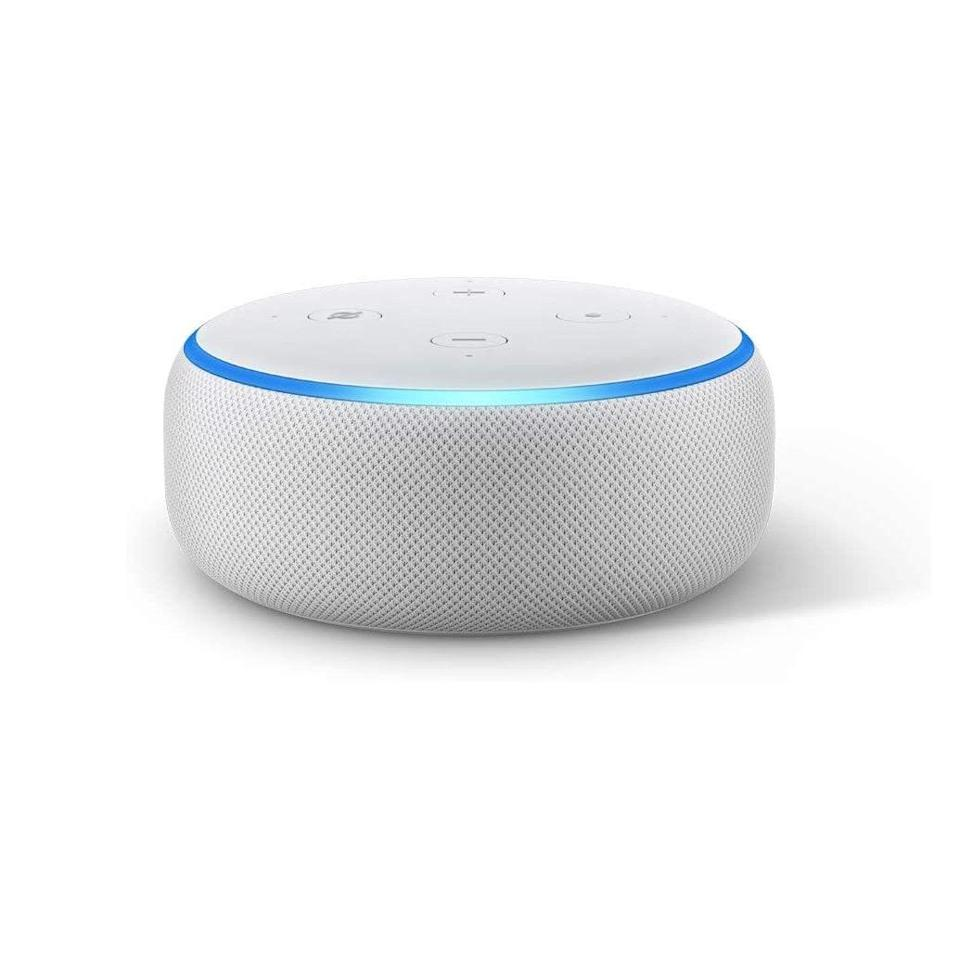 "We all have that coworker who's dedicated to creating a truly enviable work-from-home setup, and this Alexa Dot speaker is the perfect gift to top off their gorgeous new desk space. $50, Amazon. <a href=""https://www.amazon.com/Echo-Dot-3rd-Gen-Sandstone/dp/B07PGL2N7J/ref=sr_1_1_sspa?"" rel=""nofollow noopener"" target=""_blank"" data-ylk=""slk:Get it now!"" class=""link rapid-noclick-resp"">Get it now!</a>"