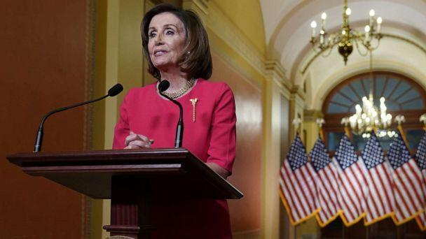 PHOTO: House Speaker Nancy Pelosi makes a statement about the government's response to coronavirus disease (COVID-19) from the Speakers Lobby on Capitol Hill in Washington, March 23, 2020. (Joshua Roberts/Reuters, POOL)
