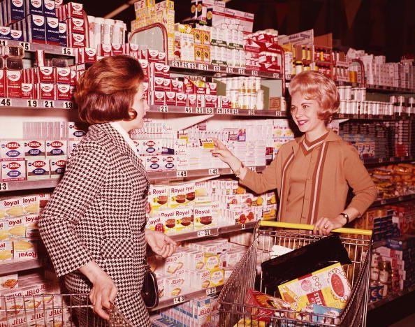 """<p>Grocery stores serve as a reflection of what is going on in society. From the surge of big supermarkets in the 1950s consumerism phase to stocked canned food aisles during the Cold War, there have been a lot of shifts since the first store was <a href=""""https://time.com/4480303/supermarkets-history/"""" rel=""""nofollow noopener"""" target=""""_blank"""" data-ylk=""""slk:conceptualized in 1916"""" class=""""link rapid-noclick-resp"""">conceptualized in 1916</a>. See for yourself how shopping for food has evolved over the last 100 years.</p>"""