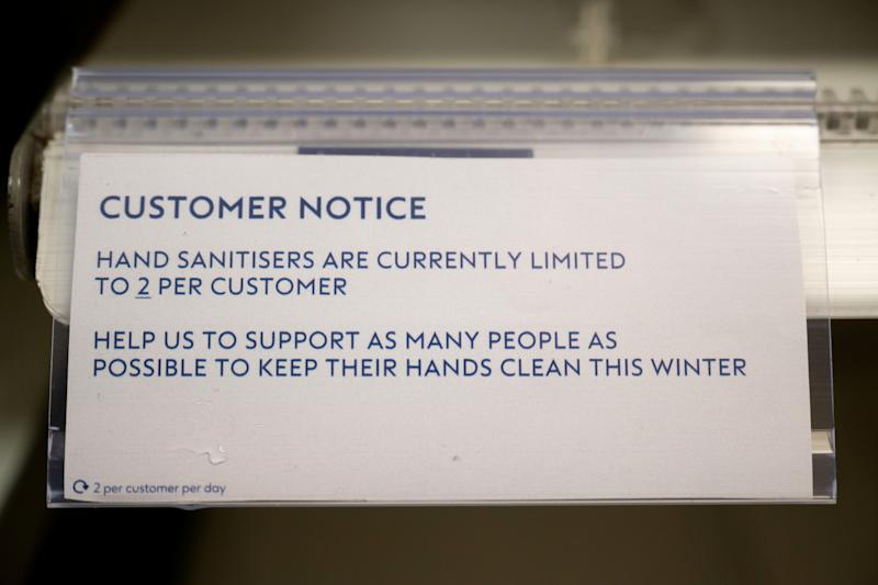 """CARDIFF, WALES - FEBRUARY 28: Empty shelves in a Boots chemist after the retailer ran out of hand sanitiser following a limiting sales to two per customer on February 28, 2020, in Cardiff, Wales. Three more cases of the coronavirus (Covid-19) were confirmed in the UK today, including the first one in Wales. The virus has spread to 49 countries in a matter of weeks, claiming nearly 2,900 lives and infecting over 80,000. The World Health Organisation have increased their risk assessment to """"very high"""". (Photo by Matthew Horwood/Getty Images)"""