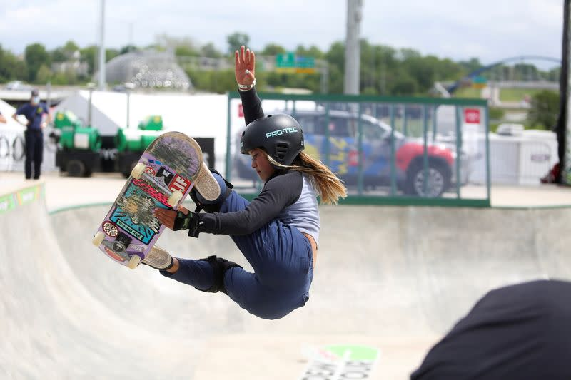 FILE PHOTO: Skateboarders practice during a stop on the Dew Tour