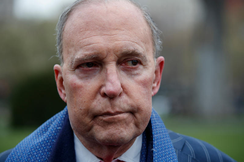 """FILE - In this April 6, 2018, photo, White House chief economic adviser Larry Kudlow talks to reporters outside the White House. in Washington. U.N. Ambassador Nikki Haley is firing back against a Trump administration official who said she was suffering from """"momentary confusion"""" when she announced new sanctions against Russia were imminent, saying, """"With all due respect, I don't get confused."""" A striking intra-administration quarrel splayed out in public when Kudlow told reporters Tuesday that Haley """"got ahead of the curve"""" when she said the U.S. would be slapping sanctions on Russia on Monday. (AP Photo/Evan Vucci)"""