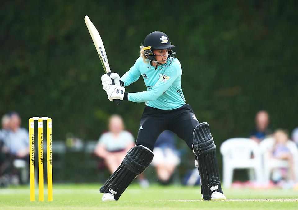 GUILDFORD, ENGLAND - AUGUST 08: Sarah Taylor of Surrey Stars bats during the Kia Super League match between Surrey Stars and Lancashire Thunder on August 08, 2019 in Guildford, England. (Photo by Jordan Mansfield/Getty Images for Surrey CCC)