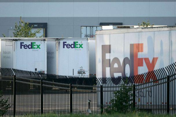 PHOTO: FedEx trailers are parked at the site of a mass shooting at a FedEx facility in Indianapolis, Indiana, April 16, 2021. (Jeff Dean/AFP via Getty Images, FILE)