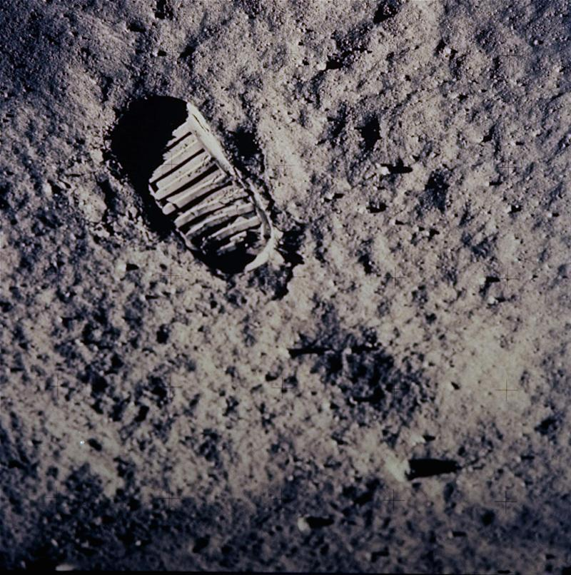 "FILE - In this July 20, 1969 file photo, a footprint left by one of the astronauts of the Apollo 11 mission shows in the soft, powder surface of the moon. Commander Neil A. Armstrong and Air Force Col. Edwin E. ""Buzz"" Aldrin Jr. became the first men to walk on the moon after blastoff from Cape Kennedy, Fla., on July 16, 1969.  The family of Neil Armstrong, the first man to walk on the moon, says he died Saturday, Aug. 25, 2012, at age 82. A statement from the family says he died following complications resulting from cardiovascular procedures. It doesn't say where he died. Armstrong commanded the Apollo 11 spacecraft that landed on the moon July 20, 1969. He radioed back to Earth the historic news of ""one giant leap for mankind."" Armstrong and fellow astronaut Edwin ""Buzz"" Aldrin spent nearly three hours walking on the moon, collecting samples, conducting experiments and taking photographs. In all, 12 Americans walked on the moon from 1969 to 1972.  (AP Photo/NASA)"