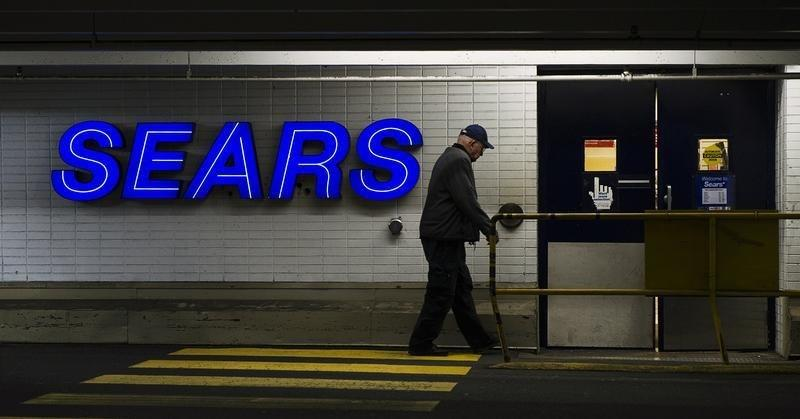 A customers enters the Sears store in North Vancouver, British Columbia