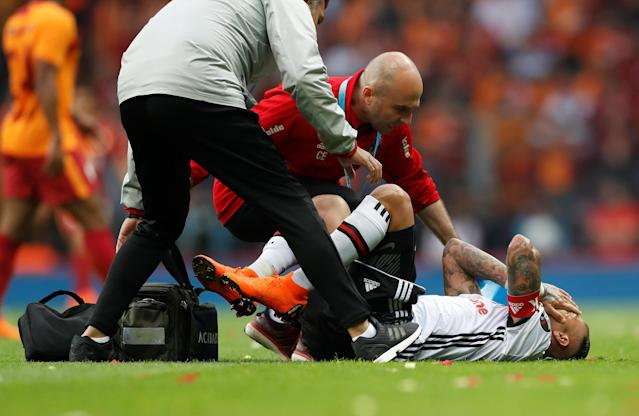 Soccer Football - Turkish Super League - Galatasaray v Besiktas - Turk Telekom Arena, Istanbul, Turkey - April 29, 2018 Besiktas' Ricardo Quaresma receives medical attention REUTERS/Murad Sezer
