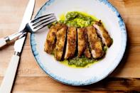 """We like breadcrumbs here for an old-school cutlet feel, but panko would work just fine in their place. Serve with some snappy green beans on the side for extra freshness. <a href=""""https://www.epicurious.com/recipes/food/views/3-ingredient-pesto-fried-chicken?mbid=synd_yahoo_rss"""" rel=""""nofollow noopener"""" target=""""_blank"""" data-ylk=""""slk:See recipe."""" class=""""link rapid-noclick-resp"""">See recipe.</a>"""