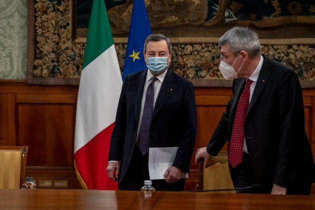 ROME, ITALY - MARCH 10: Italian Prime Minister Mario Draghi and CGIL General Secretary Maurizio Landini attend the signing of the