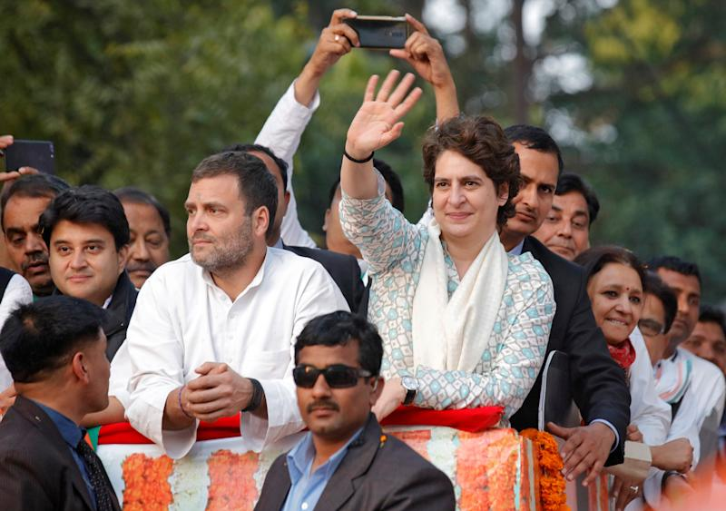 Priyanka Gandhi Vadra, a leader of India's main opposition Congress party and sister of the party president Rahul Gandhi, waves to her supporters during a roadshow in Lucknow, India, February 11, 2019. REUTERS/Pawan Kumar