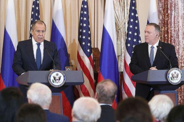 PHOTO: Russia's Foreign Minister Sergei Lavrov and Secretary of State Mike Pompeo give a joint news conference following their meeting at the US Department of State, Dec. 10, 2019. (Alexander Shcherbak/TASS via Newscom)