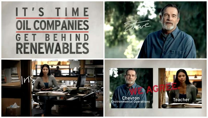 FILE PHOTO: Screenshots from a TV advertisement created in 2010 as part of the 'We Agree' campaign by ad agency McGarryBowen for the oil company Chevron Corp.