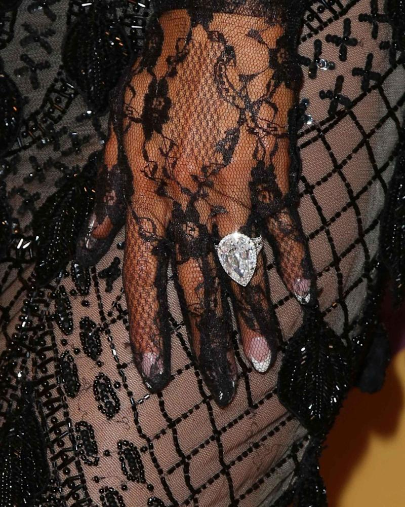 The socialite flaunted her huge engagement ring. Source: Getty