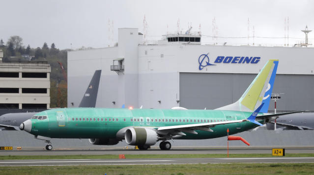 FILE - In this April 10, 2019, file photo a Boeing 737 MAX 8 airplane being built for Spain-based Air Europa rolls toward takeoff before a test flight at Boeing Field in Seattle. The head of the Federal Aviation Administration is defending his agency's approval of a troubled Boeing plane while leaving open the possibility of changing how the agency certifies aircraft. Stephen Dickson made the comments Monday, Sept. 23, in Montreal, where he and other top FAA officials briefed aviation regulators from around the world on the agency's review of changes that Boeing is making to the 737 Max. The FAA said a senior Boeing official also gave a technical briefing. (AP Photo/Ted S. Warren, File)