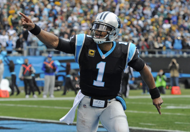Former Carolina Panthers quarterback Cam Newton (1) remains unsigned. (AP Photo/Mike McCarn)