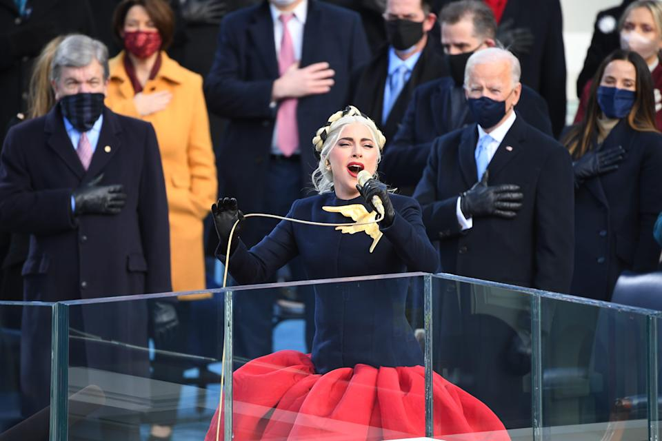 Singer Lady Gaga performs the National Anthem during the 2021 Presidential Inauguration of President Joe Biden and Vice President Kamala Harris at the U.S. Capitol on Jan. 20, 2021.