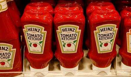 FILE PHOTO - Bottles of Heinz tomato ketchup of U.S. food company Kraft Heinz are offered at a supermarket in Zumikon