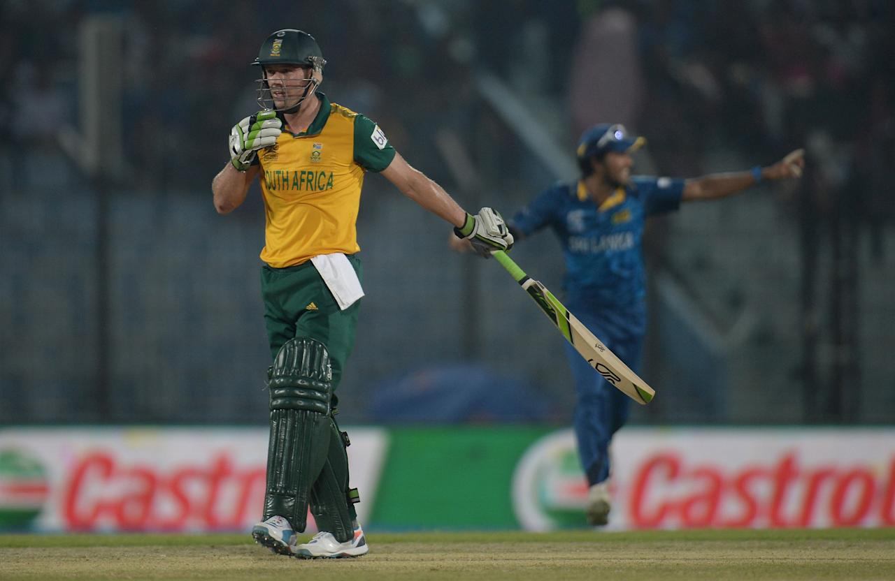 CHITTAGONG, BANGLADESH - MARCH 22:  AB de Villiers of South Africa leaves the field after being dismissed by Angelo Mathews of Sri Lanka during the ICC World Twenty20 Bangladesh 2014 Group 1 match between Sri Lanka and South Africa at Zahur Ahmed Chowdhury Stadium on March 22, 2014 in Chittagong, Bangladesh.  (Photo by Gareth Copley/Getty Images)
